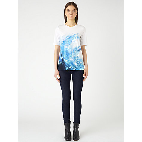 Buy Jigsaw Wave Print T-Shirt, White Online at johnlewis.com
