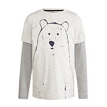 Buy John Lewis Boy Polar Bear Outline Long Sleeve T-Shirt, White/Grey Online at johnlewis.com