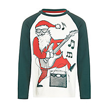 Buy John Lewis Boy Rocking Santa Claus Baseball T-Shirt, White/Green Online at johnlewis.com