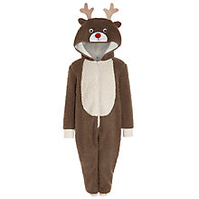 Buy John Lewis Boy Novelty Reindeer Onesie, Brown Online at johnlewis.com
