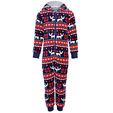 Buy John Lewis Boy Reindeer Fair Isle Onesie, Navy/Red Online at johnlewis.com