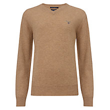 Buy Gant Boys' Long Sleeve V-Neck Jumper, Camel Online at johnlewis.com