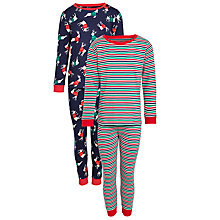 Buy John Lewis Boy Reindeer Pyjamas, Pack of 2, Blue/Multi Online at johnlewis.com