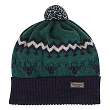 Buy Barbour Boy's Contrast Wool Bobble Hat, Green/Navy Online at johnlewis.com