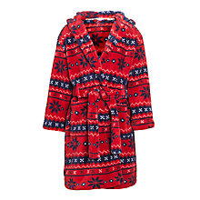 Buy John Lewis Boy Fair Isle Fleece Robe, Red/Navy Online at johnlewis.com