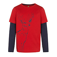 Buy John Lewis Boy Reindeer Long Sleeve T-Shirt, Red/Navy Online at johnlewis.com