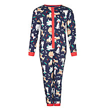 Buy John Lewis Boy Dog Print Onesie, Navy Online at johnlewis.com