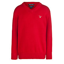 Buy Gant Boys' Cotton Knit V-Neck Jumper, Red Online at johnlewis.com