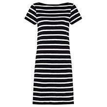 Buy Jigsaw Cotton Stripe T-Shirt Dress, Black/White Online at johnlewis.com
