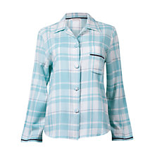 Buy Cyberjammies Meadow Check Long Sleeve Pyjama Top, Aqua Online at johnlewis.com