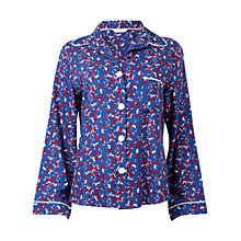 Buy Cyberjammies Michelle Leaf Print Pyjama Top, Navy Online at johnlewis.com
