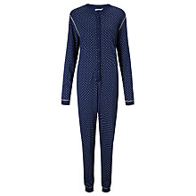 Buy John Lewis Carrie Spot Jersey Onesie, Navy Online at johnlewis.com