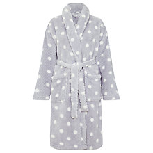 Buy John Lewis Waffle Fleece Spot Robe, Grey Online at johnlewis.com