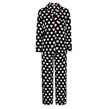 Buy DKNY Winter's Eve Heart Print Pyjama Set, Black / Multi Online at johnlewis.com