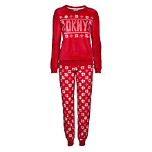 Buy DKNY Snow Day Long Sleeve Top and Pant Pyjama Set, Red Online at johnlewis.com