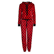 Buy DKNY Urban Break Heart Long Sleeve Hooded Onesie, Red Online at johnlewis.com