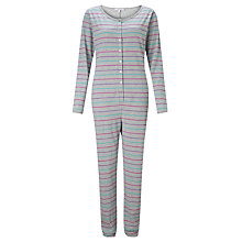 Buy John Lewis Multi Stripe Jersey Onesie, Grey / Multi Online at johnlewis.com