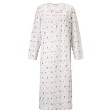 Buy John Lewis Long Sleeve Flannel Floral Nightdress, Ivory / Multi Online at johnlewis.com