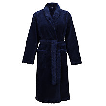 Buy John Lewis Fleece Waffle Robe, Navy Online at johnlewis.com