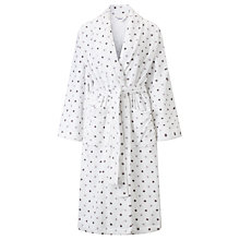 Buy John Lewis Spot Toweling Robe, White / Grey Online at johnlewis.com