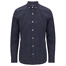 Buy JOHN LEWIS & Co. Slub Weave Long Sleeve Penny Collar Shirt, Navy Online at johnlewis.com
