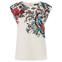 Buy Oasis Placement Botanical Top, Off White Online at johnlewis.com