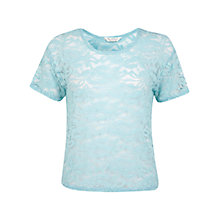 Buy Miss Selfridge Lace T-Shirt, Mint Green Online at johnlewis.com