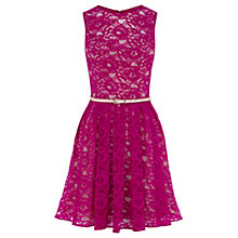 Buy Oasis Lorna Lace Skater Dress, Purple Online at johnlewis.com