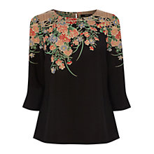 Buy Oasis Kimono Border Sleeve Top, Black/Multi Online at johnlewis.com