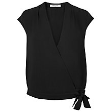 Buy L.K. Bennett Fisher Short Sleeve Draped Top, Black Online at johnlewis.com