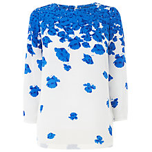 Buy L.K. Bennett Lasa Placement Top, Snorkel Blue Online at johnlewis.com