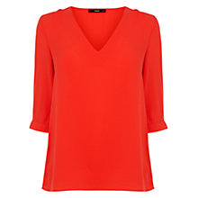 Buy Oasis Tabby Tuck Sleeve Top, Rich Red Online at johnlewis.com