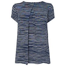 Buy L.K. Bennett Lea Woven T Shirt, Navy Online at johnlewis.com