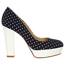 Buy Hobbs Bette Court Shoes, Navy/White Online at johnlewis.com