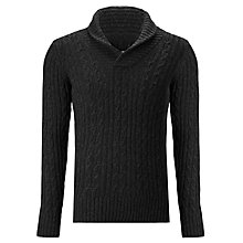 Buy G-Star Raw Oxford Cable Knit Shawl Collar Jumper, Black Online at johnlewis.com