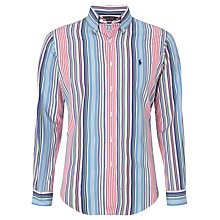 Buy Polo Golf by Ralph Lauren Stripe Cotton Shirt, Blue/Navy Online at johnlewis.com