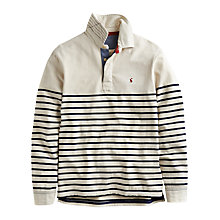 Buy Joules Lindale Cotton Long Sleeve Rugby Shirt, Cream Stripe Online at johnlewis.com