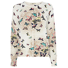 Buy Oasis Lace Butterfly Cardigan, Off White Online at johnlewis.com