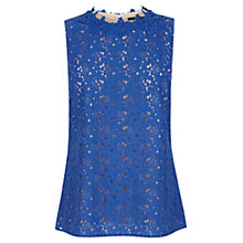 Buy Oasis Lace High Neck Top, Rich Blue Online at johnlewis.com