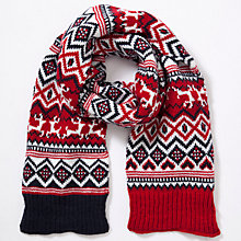 Buy John Lewis Fairisle Scarf, Navy/Red Online at johnlewis.com