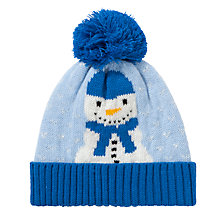 Buy John Lewis Snowman Beanie Hat, Blue Online at johnlewis.com