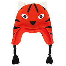 Buy John Lewis Boy Tiger Trapper Hat, Orange Online at johnlewis.com