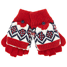 Buy John Lewis Fair Isle Knit Flip-Top Gloves, Red/Navy Online at johnlewis.com