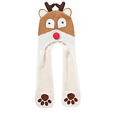 Buy John Lewis Reindeer Hooded Scarf, Brown/Cream Online at johnlewis.com