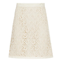 Buy Reiss Lobo Lace Detail Skirt, Cream Online at johnlewis.com