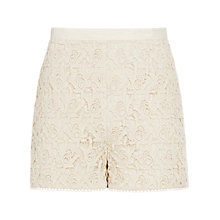 Buy Reiss Dale Lace Detail Shorts, Cream Online at johnlewis.com