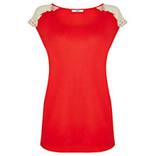 Buy Oasis Lace Trim T-Shirt, Coral Online at johnlewis.com