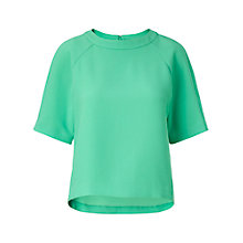Buy Whistles Tessa Sporty Crepe Top, Green Online at johnlewis.com