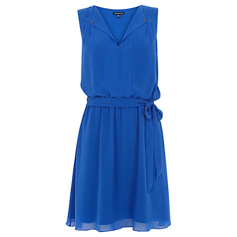 Buy Warehouse Open Neck Skater Dress, Bright Blue Online at johnlewis.com
