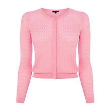 Buy Warehouse Pointelle Cropped Cardigan, Light Pink Online at johnlewis.com